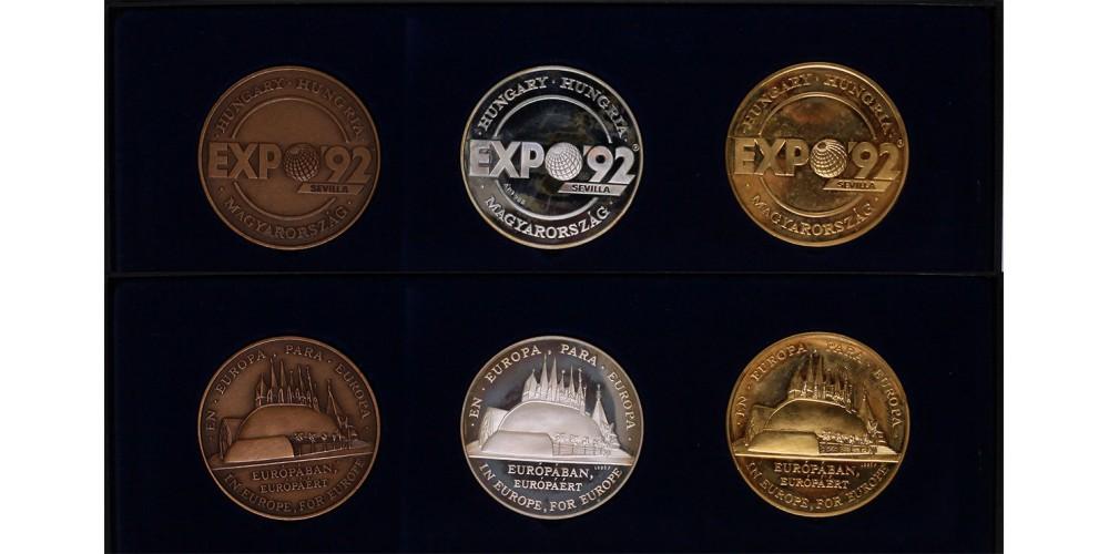 Expo'92 Sevilla ezüst,bronz,és aranyozott-réz érmek 1992