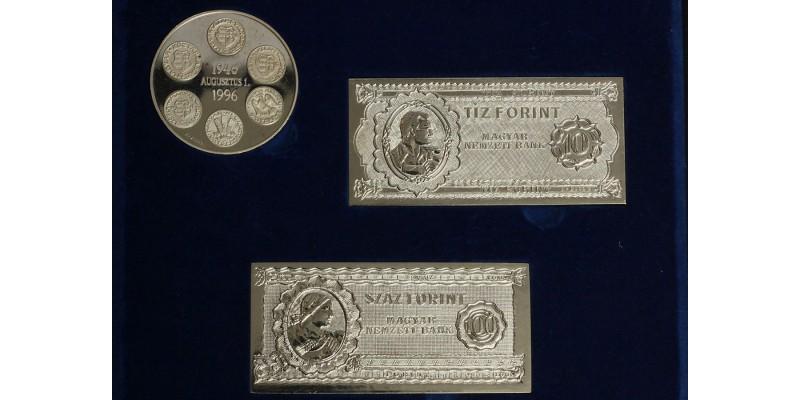 50 éves a forint ezüst érem és bankjegyek