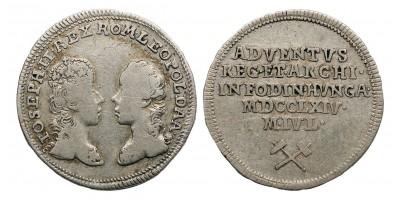 II.József és Lipót főherceg felső-magyarországi bányavárosok látogatása ezüst zseton 1764.
