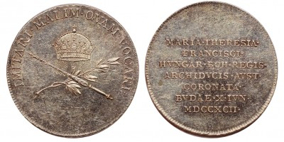 Mária Terézia Karolina királyné koronázása ezüst zseton 1792 Buda