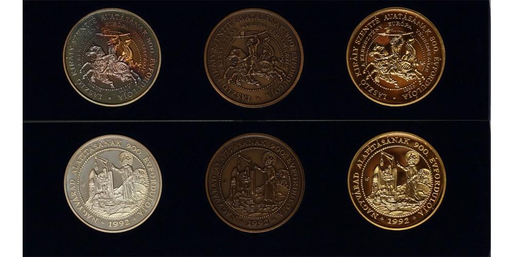 Szent László,Nagyvárad  ezüst,bronz,és aranyozott-réz érmek 1992