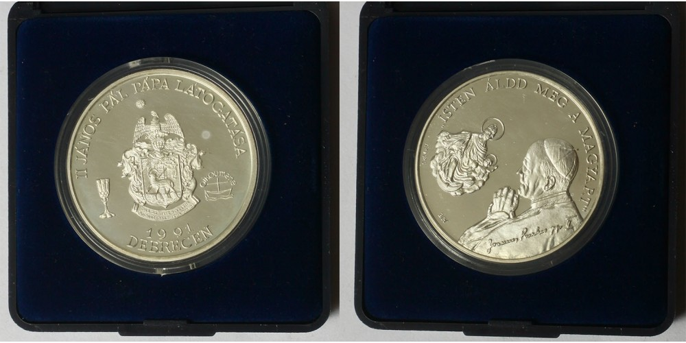 Pápalátogatás Debrecenben ezüst érem 1991