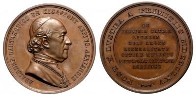 Bartakovics Adalbert Egri érsek bronz érem 1865
