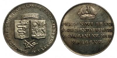 I.Ferenc Lombardia hódolata 1805 Milánó ezüst zseton