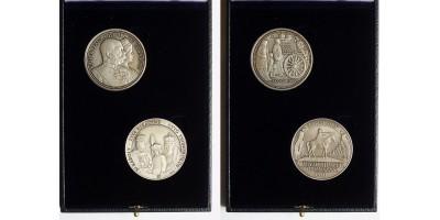 Ferenc József-IV.Károly közös kiadású ezüst érem pár
