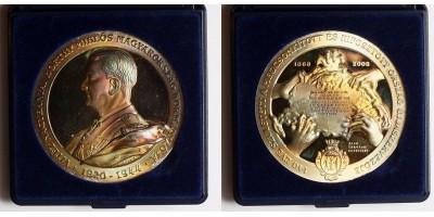 Horthy Miklós kormányzó születésnek a 140.évfordulójára ezüst emlékérem