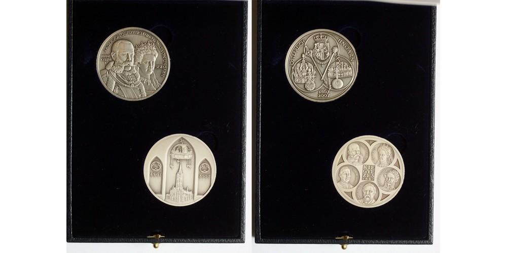 Osztrák-Magyar kiegyezés 1867-2007 140. évfordulójára  közös kiadású ezüst érem pár