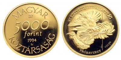 Veszélyeztetett állatvilág 5000 forint 1994 PP RR! próbaveret
