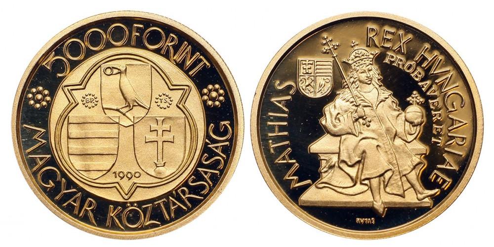 Mátyás király 5000 forint 1990 PP Próbaveret RR!