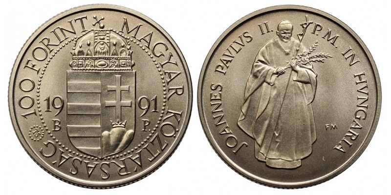 100 forint Pápa látogatás 1991