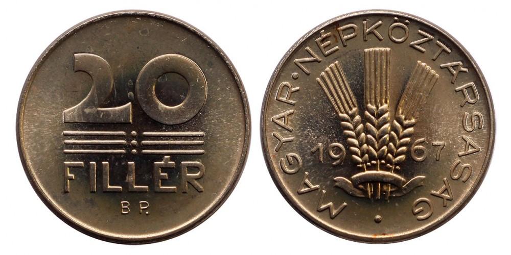 20 fillér 1967 ARTEX utánveret