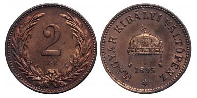 Ferenc József 2 fillér 1895 KB.