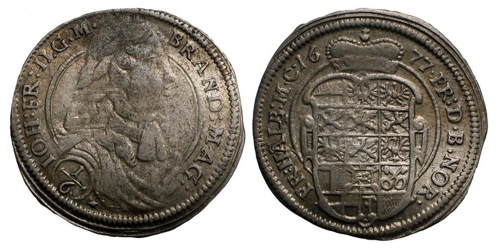 Brandenburg-Ansbac Johann Friedrich 1667-1686. 1/6 tallér 1677