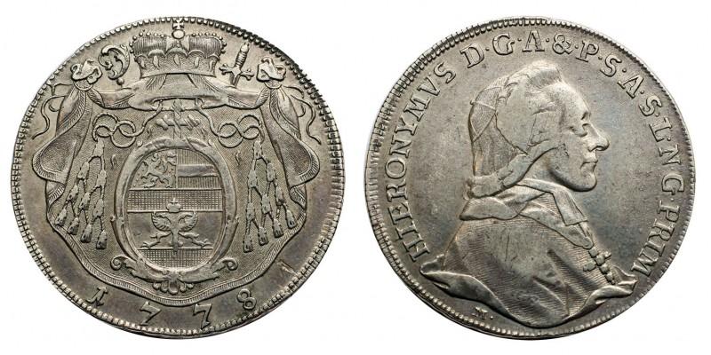 Salzburg, Erzbistum, Hieronymus Graf Colloredo 1/2 tallér 1778