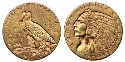 USA indiánfejes 5 dollár 1909 D