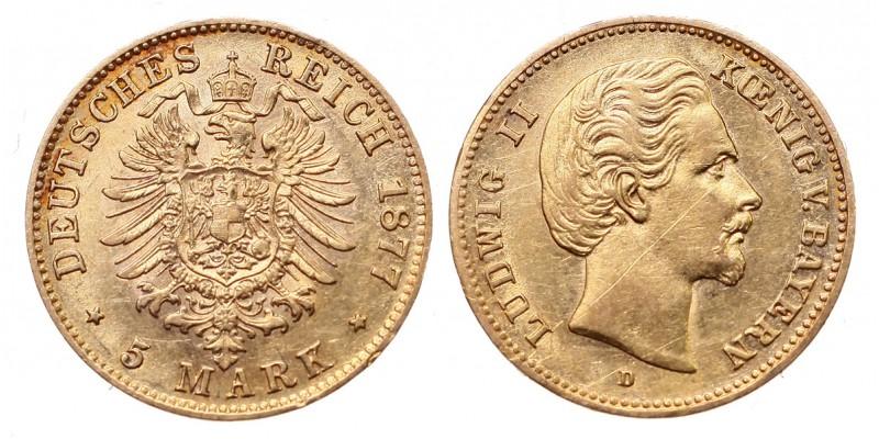 Bajorország II.Lajos 1864-1886 5 márka 1877 D