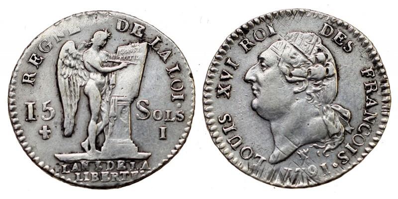 Franciaország XVI. Lajos 15 sol 1791 Limoges