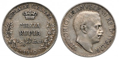 Szomália Vittorio Emanuele mezza 1/2  rupia 1910