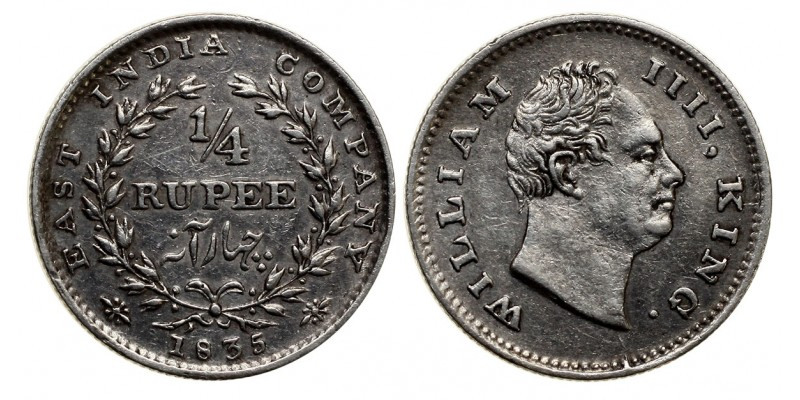Brit-India IV.Wilmos 1/4 rúpia 1835