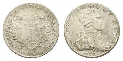Szász I.Frigyes Ágost (1763-1806) tallér 1792