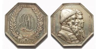 Franciaország Johannes Gutenberg és Alois Senefelder emlékérem 1796