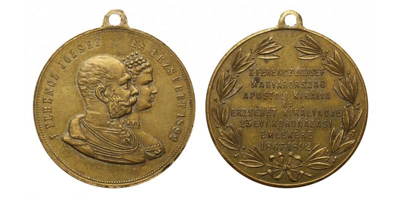 Ferenc József és Erzsébet koronázásának 25. évfordulójára 1892 emlékérem