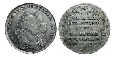 Mária Terézia Galícia és Lodoméria hódolata 1773 ezüst zseton