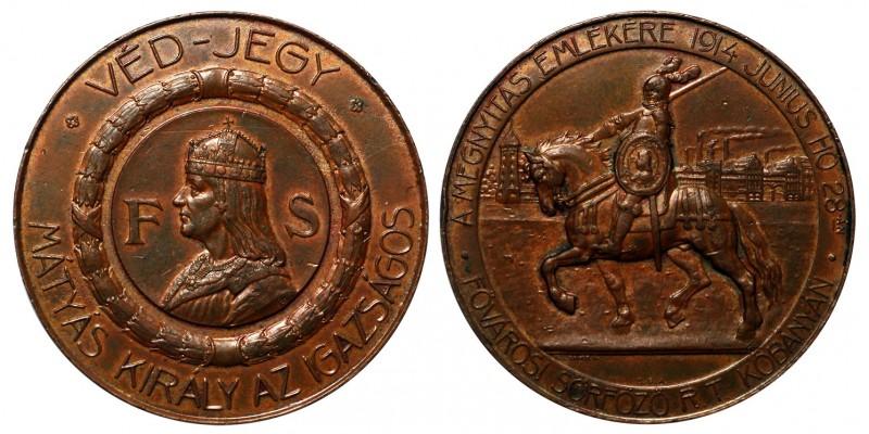 """Mátyás király """"Fővárosi Sörfőző Rt. Kőbányán"""" megnyitása 1914 emlékérem"""
