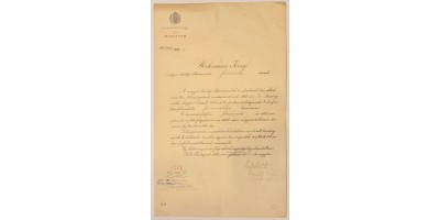Okirat Kossuth Ferenc aláírásával 1907