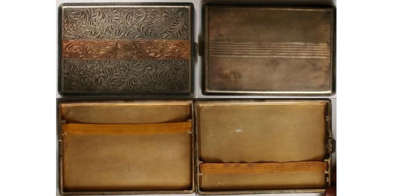 Art Deco ezüst cigarettatárca arany betéttel