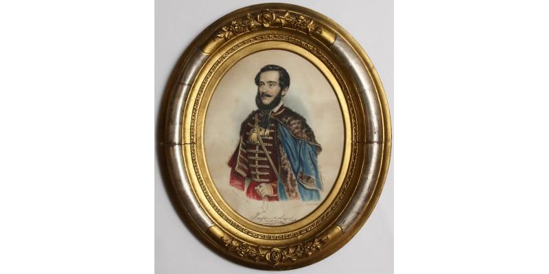 Kossuth Lajos portréja kézzel színezett metszet 1848