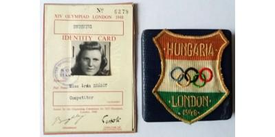 Nyári Olimpia London 1948 magyar résztvevő felvarró + igazolvány + emlékérem