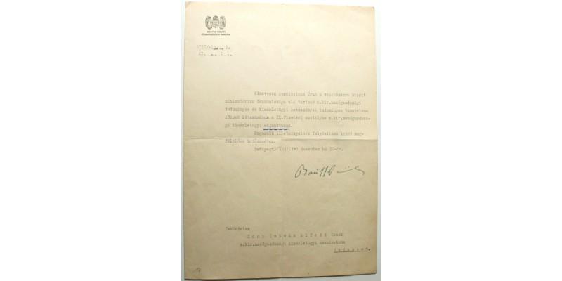 Okirat Bánffy Dániel földművelésügyi miniszter aláírásával 1941