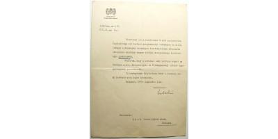 Okirat Teleki Mihály földművelésügyi miniszter aláírásával 1941
