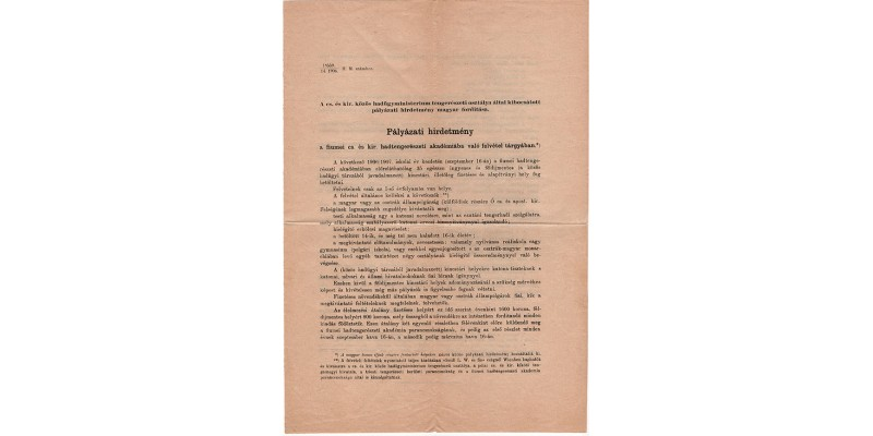 Pályázati hirdetmény Cs. és Kir. Haditengerészeti Akadémia 1906