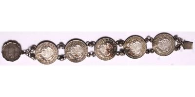Patrióta karkötő 1848-as 20 krajcárból 5 db + 1849-es 6 krajcár