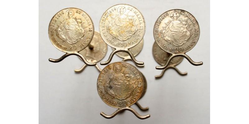 Patrióta evőeszköztartó bakok 1848-as 20 krajcárból 4db