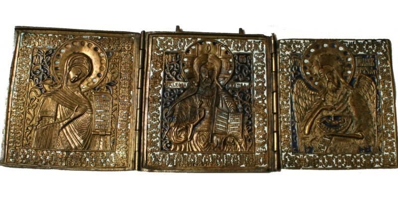 Orosz Deészisz triptichon fémikon 19. század