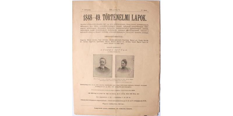 1848-49. Történelmi Lapok 1896. június 15.