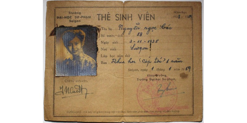 Dél-Vietnam diákigazolvány 1959 R!