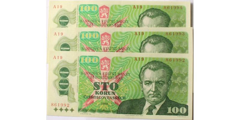 Csehszlovákia 100 korona 1989 3db sorszámkövető