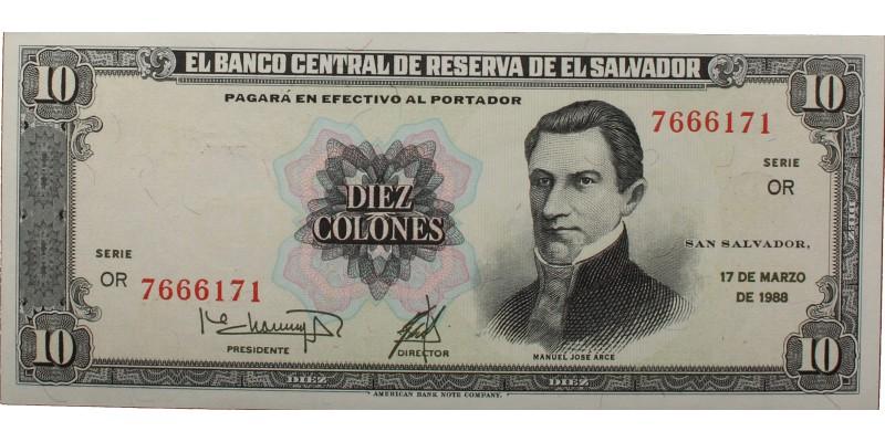 El Salvador 10 colones 1988