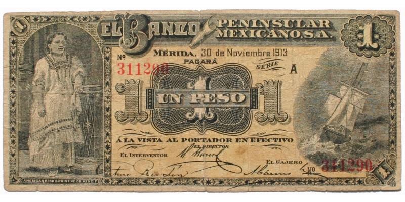 Mexikó Banco Peninsular Mexicano 1 peso 1913