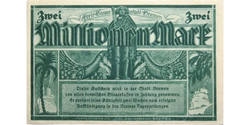 Németország Bréma 2 millió márka 1923