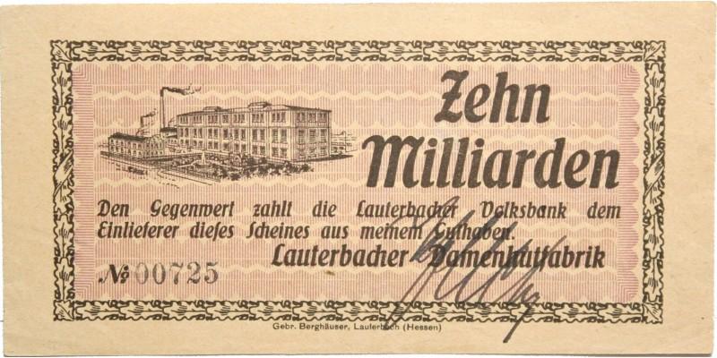 Németország Lauterbach 10 millárd márka én. (1923)