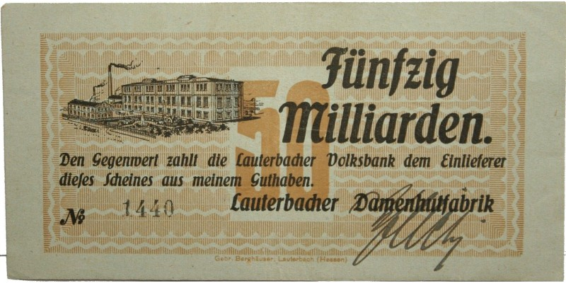 Németország Lauterbach 50 millárd márka én. (1923) R!