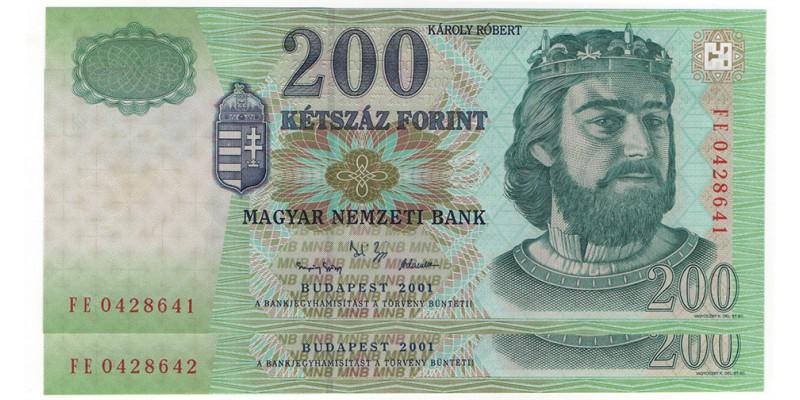 200 Forint 2001 2db sorszámkövető