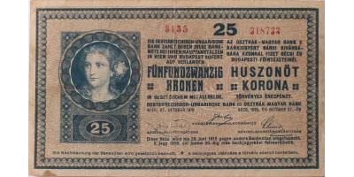 25 korona 1918 hullámos hátlap
