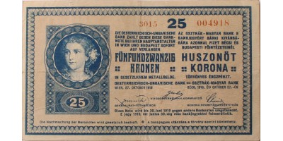 25 korona 1918 sima hátlap