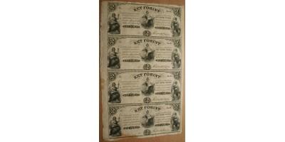 Kossuth 2 forint 1852 felvágatlan ív 4db